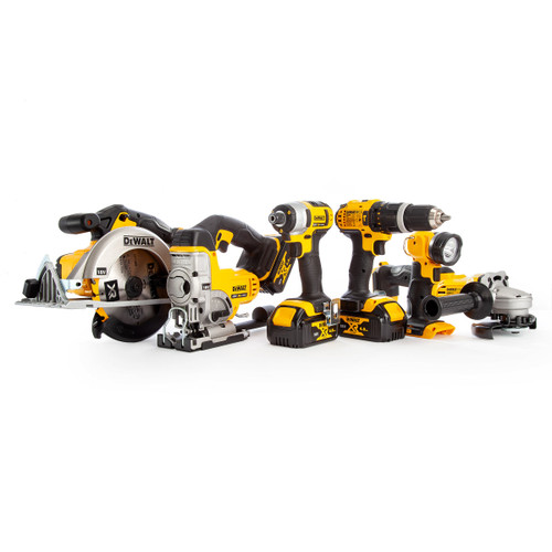 Dewalt DCK691M3 18V XR 6 Piece Kit - DCD785 Combi Drill, DCF885 Impact Driver, DCS391 Circular Saw, DCS331 Jigsaw, DCG412 Grinder & DCL040 Torch (3 x 4.0Ah Batteries) with 2 x TOUGHSYSTEM Kitboxes - 8