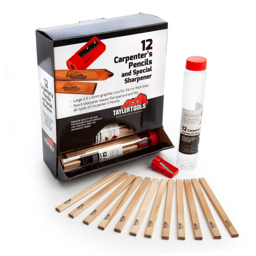 Buy Tayler 85002 Counter Display of 12 Carpenters Pencils and Sharpener in Tubes (Box of 12) for GBP33.33 at Toolstop