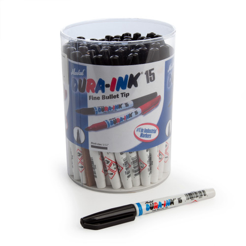 Markal 96023C Black Dura-Ink 15 Fine Bullet Tip Industrial Markers In Display (Pack Of 48) - 2