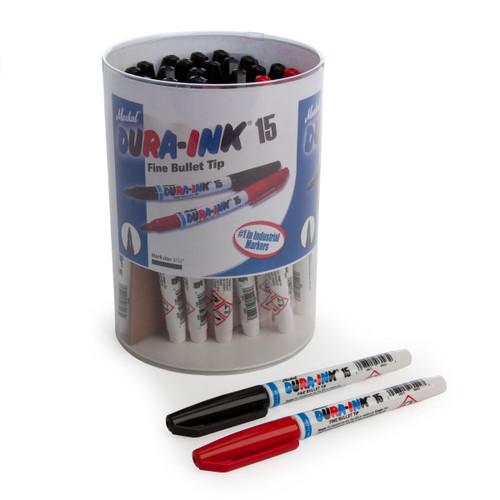 Markal 96070BR Black & Red Dura-Ink 15 Fine Bullet Tip Industrial Markers In Display (Pack Of 48) - 2