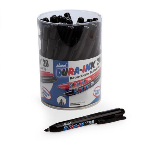 Markal 96577 Black Dura-Ink 20 Retractable Bullet Tip Industrial Markers In Display (Pack Of 24) - 1