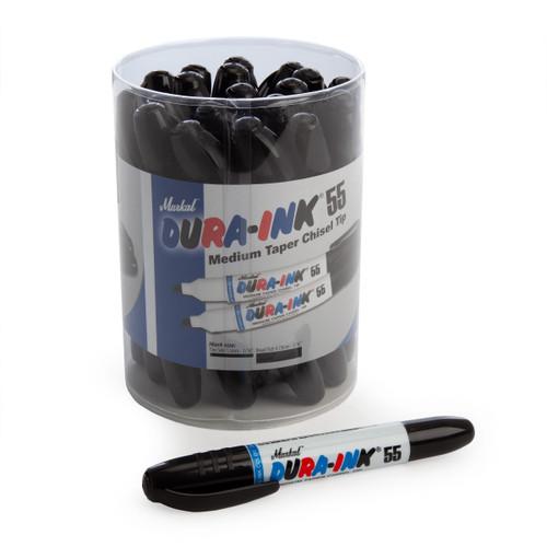 Markal 96078 Black Dura-Ink 55 Medium Taper Chisel Tip Markers In Display (Pack Of 20) - 1