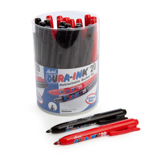 Markal 96577RB Black & Red Dura-Ink 20 Retractable Bullet Tip Industrial Markers In Display (Pack Of 24) - 1