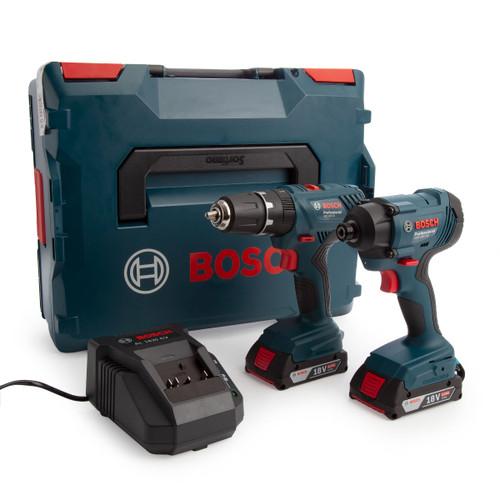 Bosch 06019G5172 18V Twin Pack - GDR 18V-160 Impact Wrench + GSB 18V-21 Combi Drill (2 x 2.0Ah Batteries) - 2