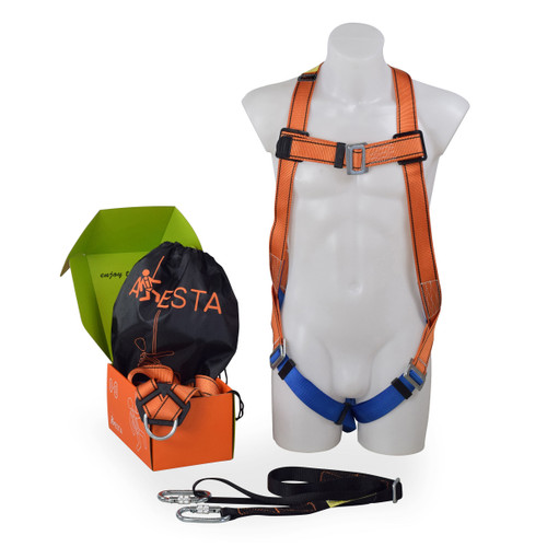Aresta MEWP Kit 1S - Single Point Harness With 2m Adjustable Webbing Lanyard, 2 x Carabiners & Kitbag - 1