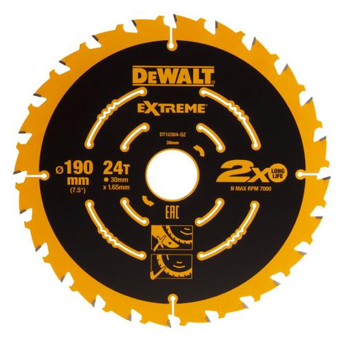 Dewalt DT10304-QZ Extreme Framing Circular Saw Blade 190mm x 30mm x 24T - 1