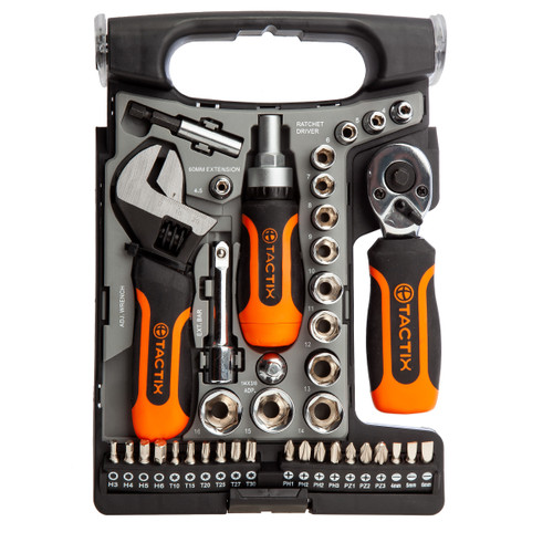 Buy Tactix 900156 Stubby Metric Socket and Bit Set (40 Piece) TS at Toolstop