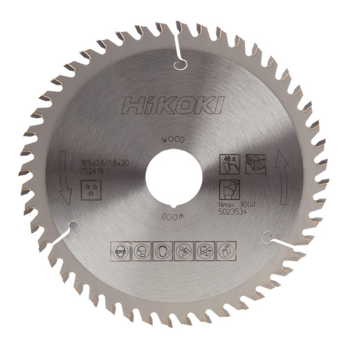 Buy HiKOKI 752418 Saw Blade For Wood 165mm x 30/20mm x 48T at Toolstop