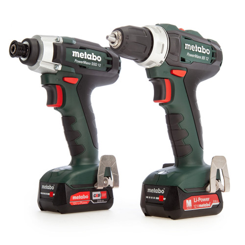 Metabo 685166000 12V PowerMaxx Twin Pack - SSD12 Impact Driver + BS12 Drill Driver (2 x 2.0Ah Batteries) - 3