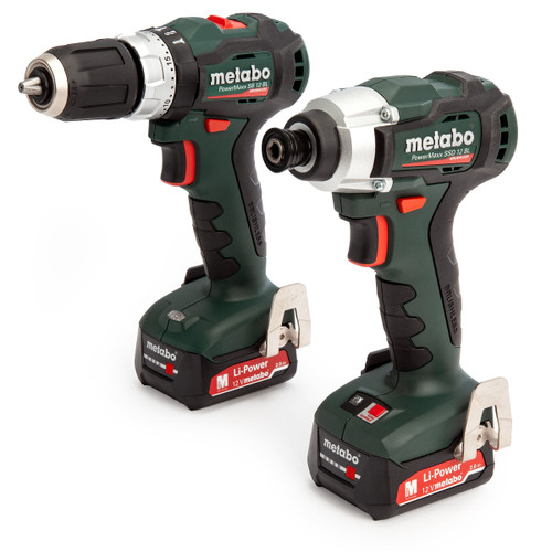 Metabo 685165000 2.7.5 12V Brushless Combo Twin Pack - PowerMaxx SB 12 BL Hammer Drill + SSD 12 BL Drill Driver (2 x 2.0Ah Batteries) - 4