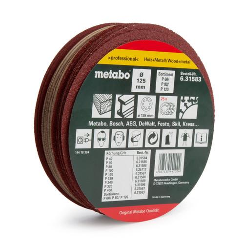 Metabo 631583000 Hook & Loop Assorted Sanding Discs 125mm (Pack Of 25)
