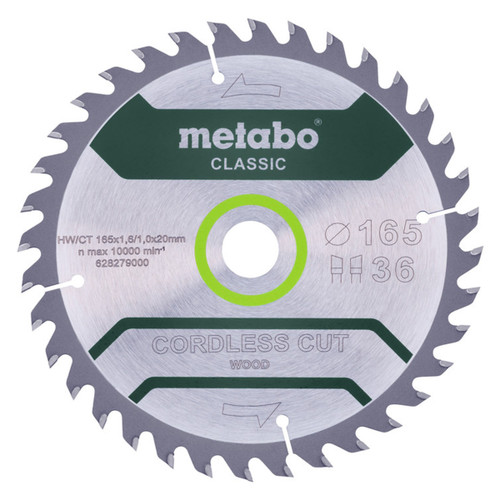Buy Metabo 628279000 Classic Saw Blade For Wood 165mm x 20mm x 36T at Toolstop