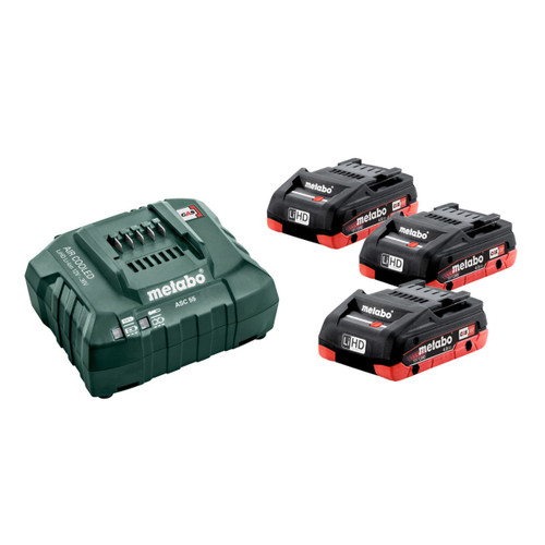 Buy Metabo 685132000 Basic Set - 3 x 4.0Ah LiHD Batteries & ASC 55 Air Cooled Charger for GBP155 at Toolstop