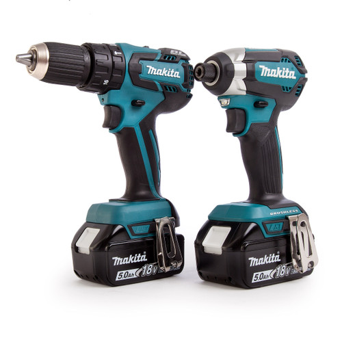 Buy Makita DLX2173TJ 18V 2 Piece Cordless Brushless Kit (DHP459 Combi Drill and DTD153 Impact Driver) 2 x 5Ah Batteries at Toolstop
