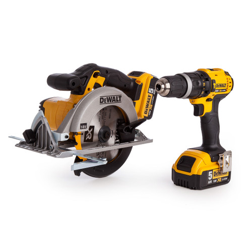 Buy Dewalt DCS391 Circular Saw, DCD785 Combi Drill, 2 x 5.0Ah Batteries + Charger in TStak Box at Toolstop