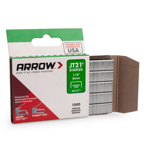 "Buy Arrow A214 JT21 Light Duty Staples 1/4"" (Pack Of 1000) at Toolstop"