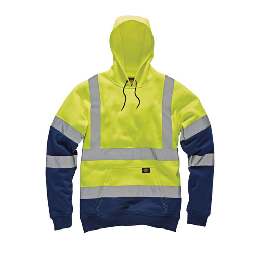 Buy Dickies SA22095 Hi-Vis Two Tone Hoodie (Yellow/Navy) at Toolstop