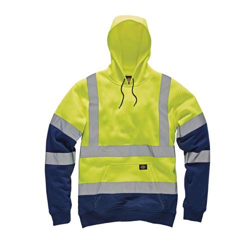 Buy Dickies SA22095 Hi-Vis Two Tone Hoodie (Yellow/Navy) at Toolstop
