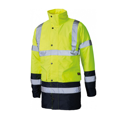 Buy Dickies SA7004 Hi-Vis Two Tone Parka Yellow/Navy at Toolstop