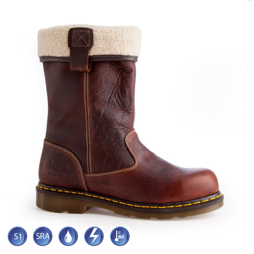 Buy Dr Martens 6807 Ladies Rosa ST Fur Lined Safety Rigger Boot (Heat & Slip Resistant) in Brown at Toolstop