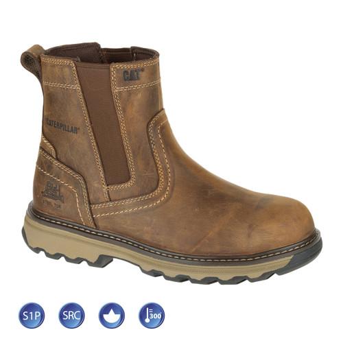 Buy Caterpillar 7069 Pelton Dealer Dark Beige Safety Boot (Heat and Slip Resistant) at Toolstop