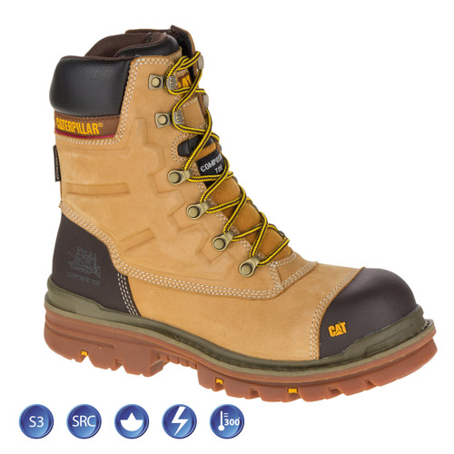 Buy Caterpillar 7063 Premier Honey Waterproof 8 Inch Safety Boot (Heat and Slip Resistant) at Toolstop