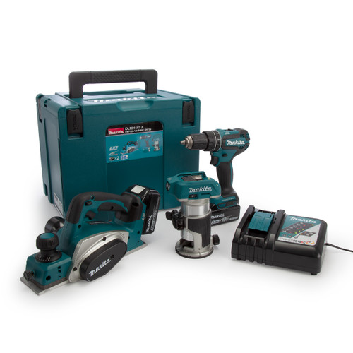 Buy Makita DLX3116TJ 18V LXT 3 Piece Kit - DHP485 Combi Drill, DRT50 Router/Trimmer & DKP180 Planer (2 x 5.0Ah Batteries) at Toolstop