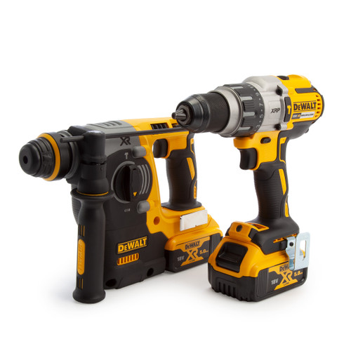 Dewalt DCK229P2T 18V XR Twin Pack - DCD996 Combi Drill + DCH273 SDS PLUS Hammer Drill (2 x 5.0Ah Batteries) - 1