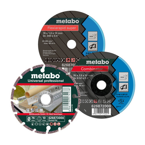 Buy Metabo 626879000 Cutting Disc Starter Set 76mm (Pack Of 3) at Toolstop