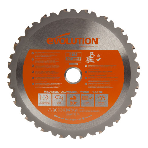 Evolution R185TCT-20MS Multi Material TCT Saw Blade 185mm - 1