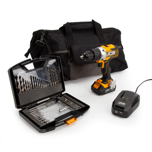 Buy JCB 18BLCD-B 18V Brushless Combi Drill (1 x 2.0Ah Battery) with Charger, 55 Piece Bit Set & Kit Bag at Toolstop