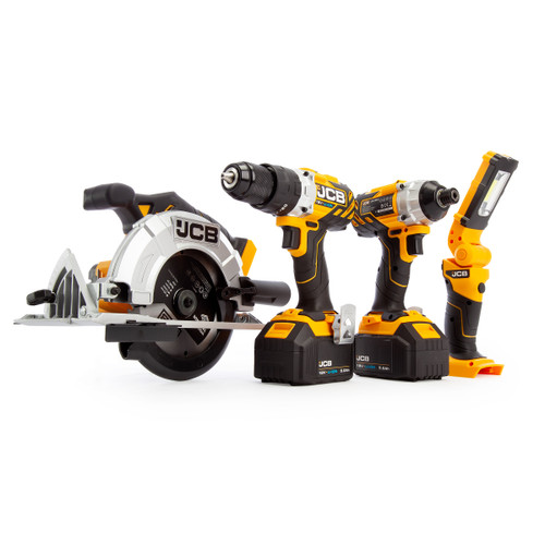 JCB 18V 4 Piece Kit, Combi Drill, Impact Driver, Circular Saw, Lamp, (2 x 5.0Ah Batteries), Charger and Large Kitbag - 2