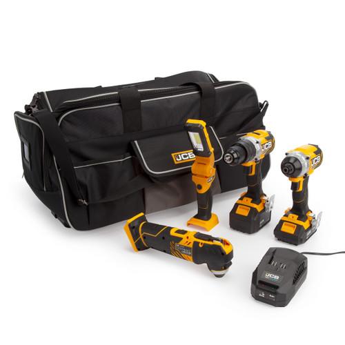 Buy JCB 18V 4 Piece Kit - Combi Drill, Impact Driver, Multi Tool & Inspection Lamp (1 x 5.0Ah & 1 x 2.0Ah Batteries) at Toolstop