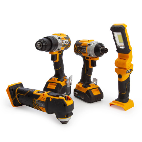 JCB 18V 4 Piece Kit - Combi Drill, Impact Driver, Multi Tool & Inspection Lamp (1 x 5.0Ah & 1 x 2.0Ah Batteries) - 5