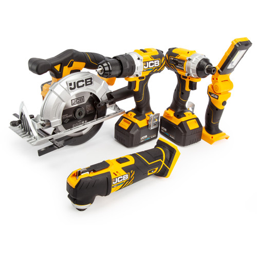 Buy JCB 18V 5 Piece Kit, Combi Drill, Impact Driver, Circular Saw, Multi-Tool, Lamp, (2 x 5.0Ah Batteries), Charger and Large Kitbag at Toolstop