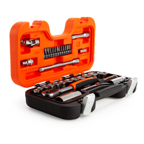 "Bahco S330 Socket Set with Metric Hex Profile and Ratchet 1/4"" and 3/8"" Square Drive (34 Piece) - 5"