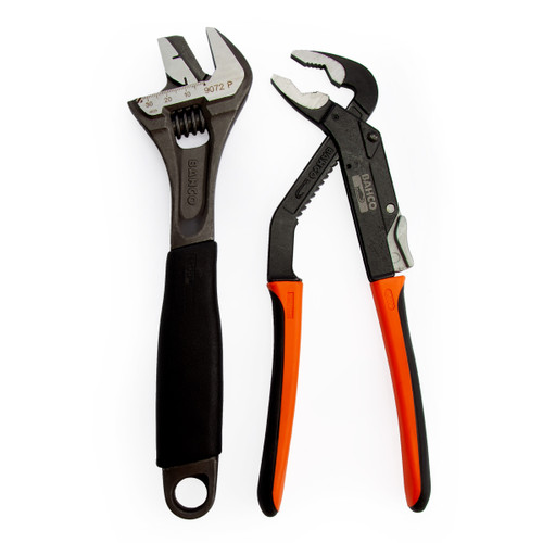 Bahco 9873 Adjustable Wrench and Slip Joint Pliers Plumbers Set - 9072P & 8224 - 5