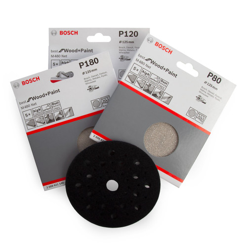 Buy Bosch 06159975WV M480 3 Step Sanding Solution Pack 125mm (Pack Of 15 + Backing Pad) for GBP12.5 at Toolstop