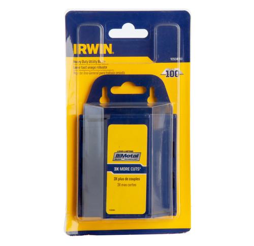 Buy Irwin 10504243 Bi-Metal BLUE Trapezoid Knife Blades (Pack of 100) at Toolstop