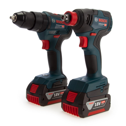 Bosch 06019J2270 Professional Brushless Twin Pack - GSB 18V-55 Combi Drill + GDX 18V-200 Impact Wrench (2 x 4.0Ah Batteries) - 1