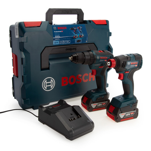 Bosch 06019J2270 Professional Brushless Twin Pack - GSB 18V-55 Combi Drill + GDX 18V-200 Impact Wrench (2 x 4.0Ah Batteries) - 2
