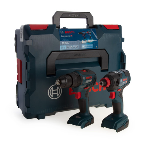 Bosch 06019J2203 Professional Brushless Twin Pack - GSB 18V-55 Combi Drill + GDX 18V-200 Impact Wrench (Body Only) - 1