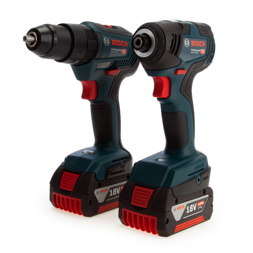 Bosch 06019J2170 Professional Brushless Twin Pack - GSB 18V-55 Combi Drill + GDR 18V-200 Impact Wrench (2 x 4.0Ah Batteries) - 2