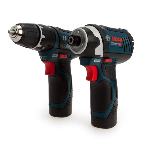 Buy Bosch 06019A6979 Professional Twin Pack - GSB 12V-15 Combi Drill + GDR 12V-105 Impact Driver (2 x 2.0Ah Batteries) at Toolstop