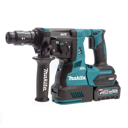 Makita HR004GD101 40Vmax XGT Brushless SDS Plus Rotary Hammer with Quick Change Chuck (1 x 2.5Ah Battery)