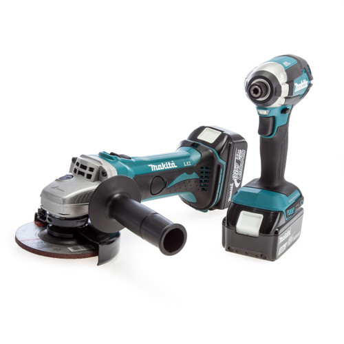 Makita 18V Twin Pack - DTD153 Impact Driver + DGA452 Angle Grinder (2 x 3.0Ah Batteries)