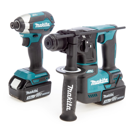Makita 18V Brushless Twin Pack - DTD153 Impact Driver + DHR171 SDS Plus Rotary Hammer (2 x 3.0Ah Batteries)