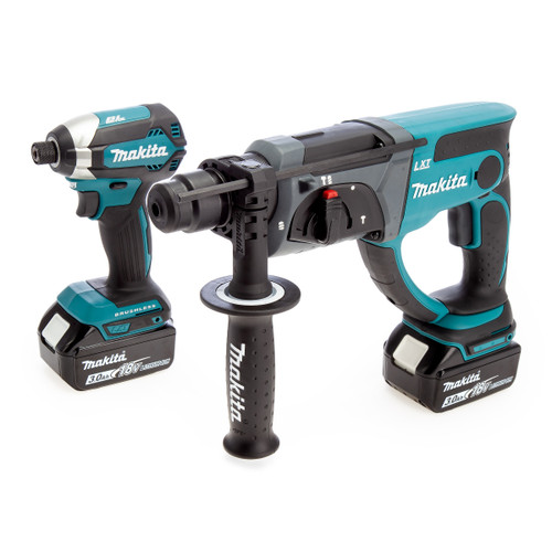 Makita 18V Twin Pack - DTD153 Impact Driver + DHR202 SDS Plus Rotary Hammer (2 x 3.0Ah Batteries)