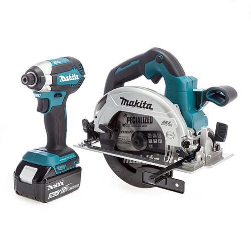 Makita 18V Brushless Twin Pack - DTD153 Impact Driver + DHS660 Circular Saw (2 x 3.0Ah Batteries)