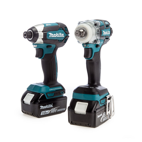 Makita 18V Brushless Twin Pack - DTD153 Impact Driver + DTW285 Impact Wrench (2 x 3.0Ah Batteries)